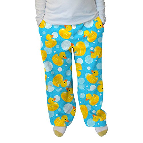 Grandma Pants Women's Bubble Ducks Adult Pant (Bubble Ducks,M)/Bubble Ducks Print Pajama Pants for Women, Printed Pants for Women, Sky Bue Print Pajamas for Women