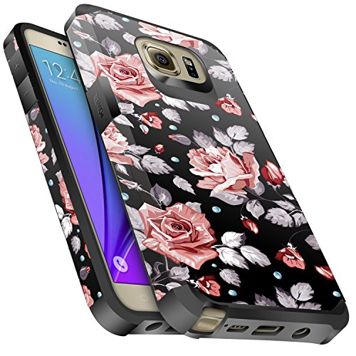 Galaxy Note 5 Case, Miss Arts Slim Anti-Scratch Protective Kit with [Drop Protection] Heavy Duty Dual layer Hybrid Sturdy Armor Cover Case for Samsung Galaxy Note 5 -Rose Gold Flower / Black