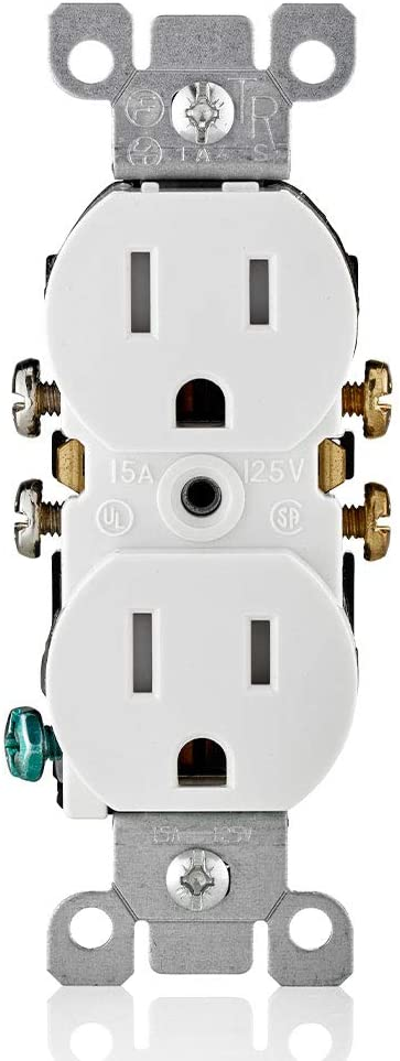 Leviton T5320-WMP M22-Straight Blade Tamper Resistant Duplex Receptacle, 125 V, 15 A, 2 Pole, 3 Wire, 10 pack, White - -