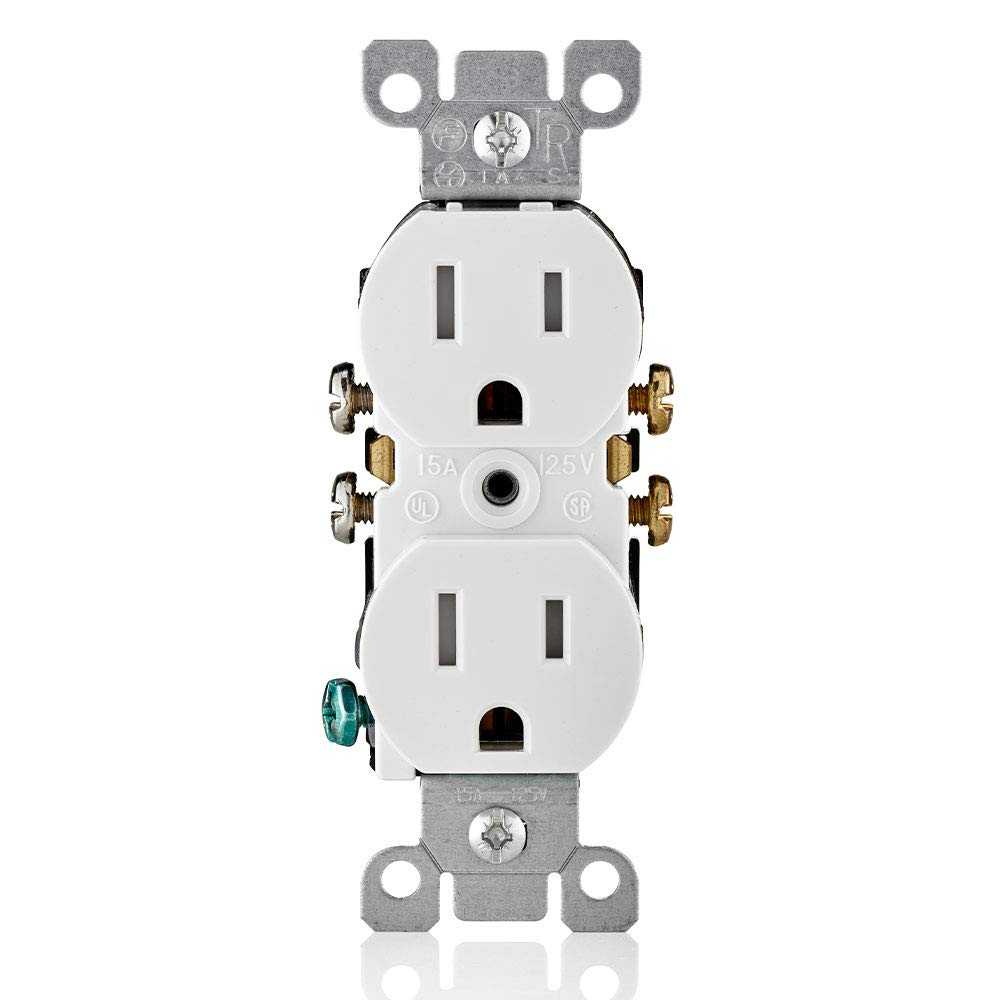 Leviton T5320-W Straight Blade Tamper Resistant Duplex Receptacle, 125 V, 15 A, 2 Pole, 3 Wire, 1 Pack, White
