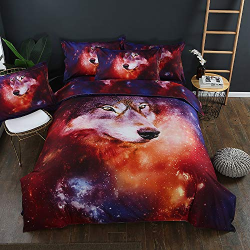 (LightInTheBox 300TC Duvet Cover Set 3D Wolf Bedding Set Queen King Size Full Twin Comforter Covers, Duvet Cover 2 Pillow Shams Space Pattern Cool Covers (Twin/Single only 1 Pillowcase))