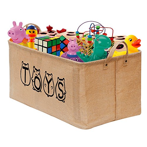 "Price comparison product image Gimars XL 20"" Cute Well Holding Shape Jute Toy Chest Baskets Storage Bins Organizer - Perfect for Organizing Toy Storage,  Baby Toys,  Kids Toys,  Dog Toys,  Baby Clothing,  Children Books,  Gift Baskets"