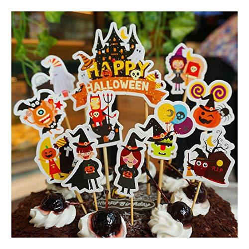 11pcs Halloween Cake Cupcake Flag Toppers Birthday Party Dessert Baking Decor -
