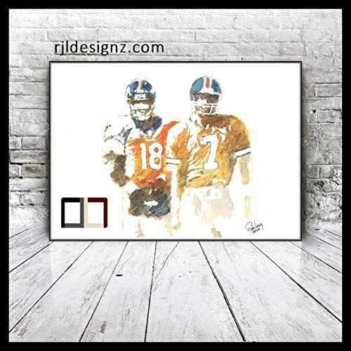 HAND DRAWN Original Watercolor PRINTLegends featuring PEYTON MANNING /& JOHN ELWAY Available in 11X14 and 20x30 Prints TOO! /©2015 by Rick Long