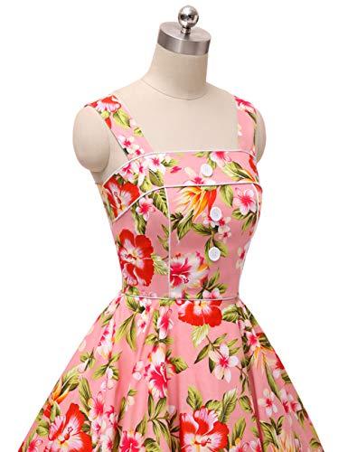 cerezas Fleur4 con VKStar® Rockabilly cuadros Vintage vestido de noche sin estilo mangas de Vestido zFwpTqF
