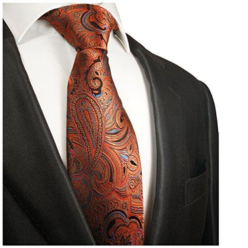 Cravate homme orange motif cachemire 100% soie
