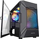 MUSETEX MESH Micro ATX Tower 4 PCS × LED ARGB Fans Pre-Installed 2 PCS × USB 3.0 Ports Opening Tempered Glass Panel & Mesh Front Panel Airflow Gaming PC Case (MK7-GN4) (Color: MK7-GN4 (4PCS RGB fans))