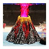 Aquarium Decorations, Air Stone Bubbler Volcano Shape Ornament Kit Set with Red LED Spotlight for Decorate Aquarium Fish Tank