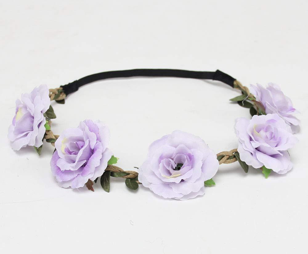New Rose Flower Women Forehead Hair Band Wedding Flower Wreath Crown Head Band Bridal Headpiece Children Girl Hair Accessories Purple