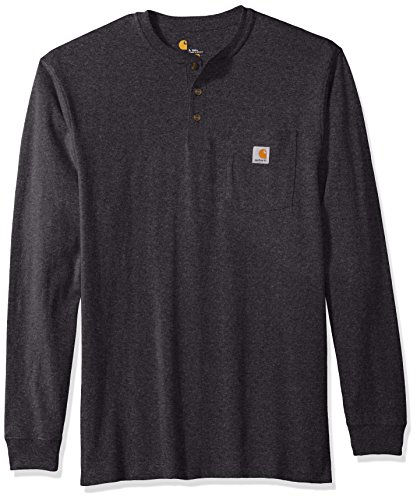 Carhartt Men's Big and Tall Workwear Pocket Long Sleeve Henley, Carbon Heather, - Big Henley And Shirts Tall
