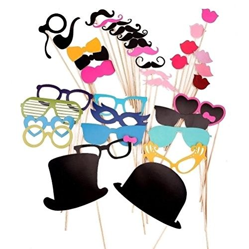 Trimming Shop 36 Piece Set of Moustache on a Stick Photo Booth Props -
