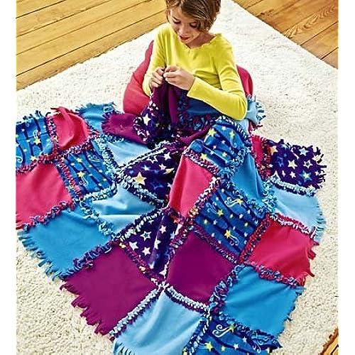 Tie blanket kits fleece amazon fleece starry sky knot a quilt no sew craft kit ccuart Images