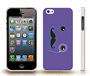 iPhone 5/5S Case with Mustache and Monocle Design on Cool Blue , Snap-on Cover, Hard Carrying Case (White)