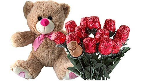 River Chocolate Milk (Valentines Day Gift Basket | Teddy Bear Plush 12 Inches (Color may Vary) & A dozen Belgian Milk Chocolate Rose Bouquet | For Her Wife Girlfriend Mother Daughter)