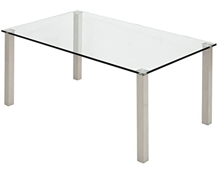 Amazon Com Modern Glass Coffee Table Stainless Brushed Metal Leg