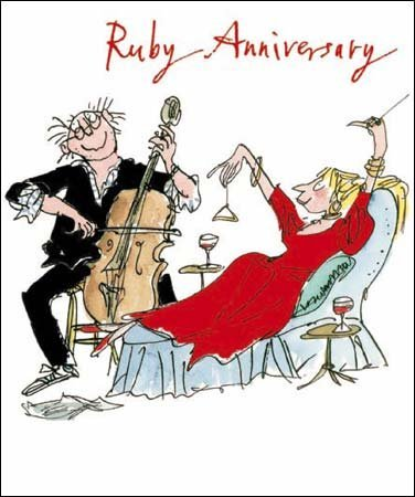 Woodmansterne Ruby 40th Wedding Anniversary Card Quentin Blake QB7595