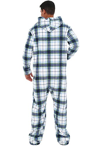 Alexander Del Rossa Mens Fleece Onesie, Hooded Footed Jumpsuit Pajamas, XL Blue on White Plaid (A0320P06XL) by Alexander Del Rossa (Image #2)