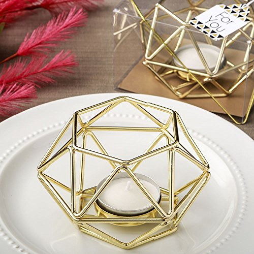 50th Anniversary Votive Holder - 12 Gold Hexagon Shaped Geometric Design Tea Light Votive Candle Holders