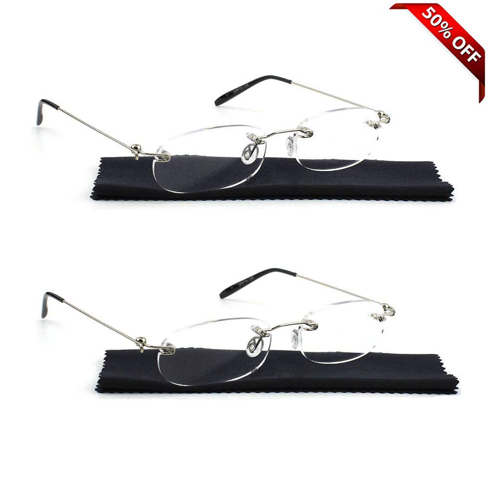 7a12f2ae95e Amazon.com  REAVEE Unisex 2 Pair Lightweight Rimless Reading Glasses Ultra  Thin Readers Quality Spring Hinged Crystal Clear Lenses Eyeglasses  Health  ...