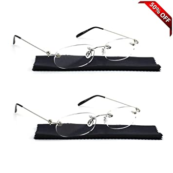 24fce24bbcd REAVEE Unisex 2 Pair Lightweight Rimless Reading Glasses Ultra Thin Readers  Quality Spring Hinged Crystal Clear