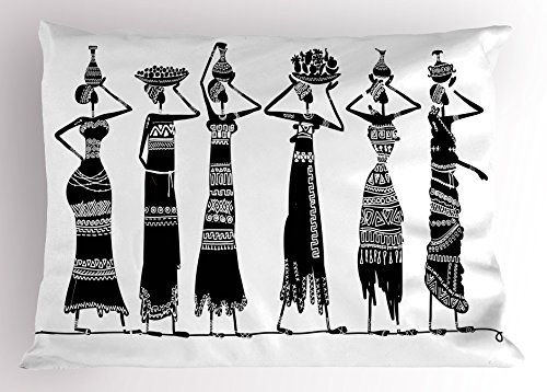 """Ambesonne African Pillow Sham, Sketch of Local Women with Jugs Silhouettes Patterned Dresses, Decorative Standard Size Printed Pillowcase, 26"""" X 20"""", Charcoal White"""