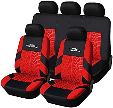 Universal Car Protectors Red Black Washable Seat Covers Set Safe Full Set Red