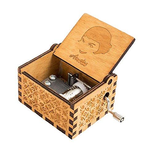 FnLy 18 Nota Grabado Madera Amelie Thame Caja de música, Antiguo Tallado a Mano manivela Caja de Regalo, Marrón, 1