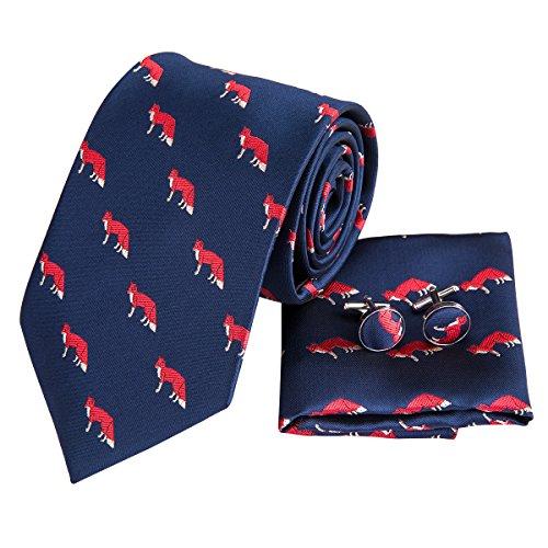 - Hi-Tie Men Dark Blue Stripes Tie Handkerchief Necktie with Cufflinks and Pocket Square Tie Set