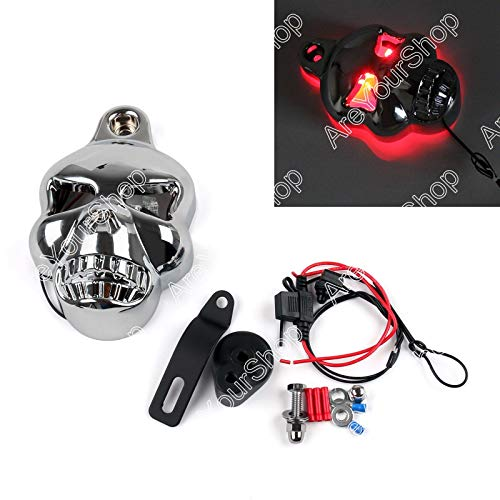 (Artudatech Skull Lighted Eye Horn Cover fit Harley Softail Dyna Glide Big Twin Electra CHR)