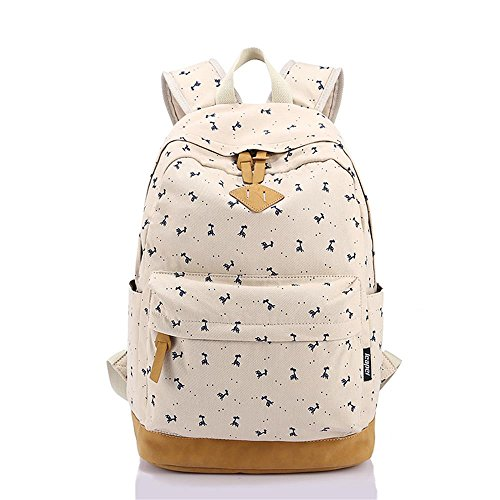 Korean Style Canvas Animal Print Casual Daypack College Student Satchels, Beige