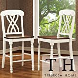Cheap Mackenzie White Counter Height Chair (Set of 2) Accent Chairs /Dining Room Chairs