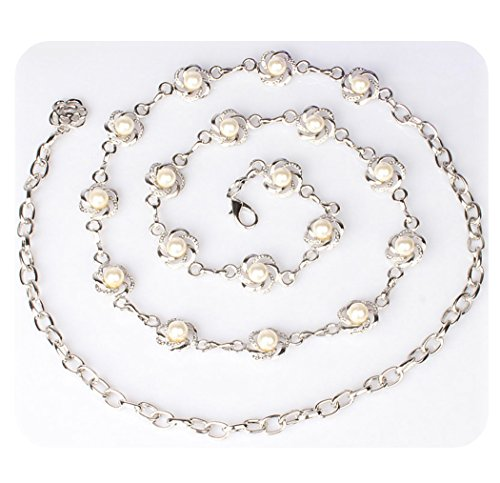 Amiveil Women's Metal Chain Flower Pearl Belts Gold Silver