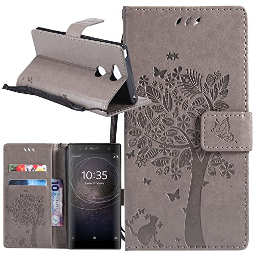 Sony Xperia XA2 Case, Lacass Cat Tree Pattern PU Leather Flip Wallet Case Cover Kickstand with Card Slots and Wrist Strap for Sony Xperia XA2 (2018) 5.2