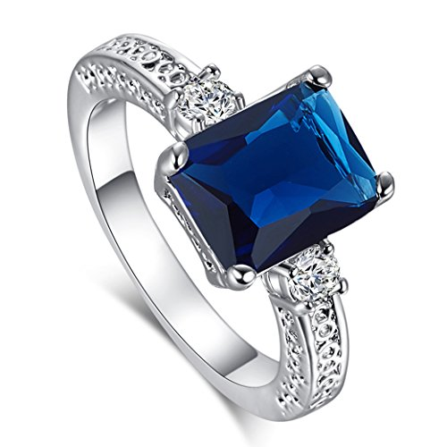 Narica Womens Fashion Simple 8mmx10mm Emerald Cut Sapphire Quartz CZ Engagement Ring (Cut Sapphire Ring)