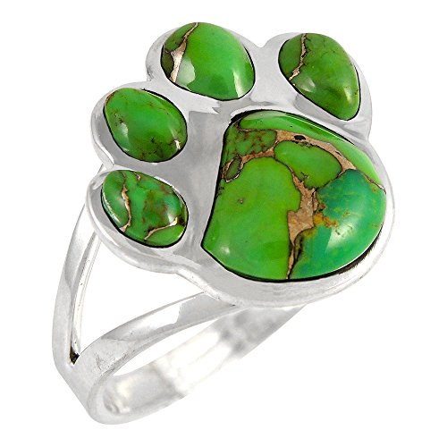 Dog Paw Sterling Silver 925 Genuine Green Turquoise Ring (8)