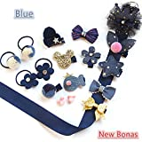 18pcs Gift Set Hair Accessories Baby Little Girls Hair Clips Bows Barrettes Hairpins Set Head Ornaments (Blue)