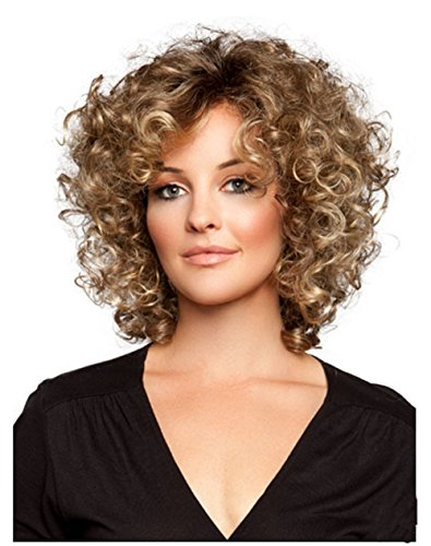 Wigs, high temperature wire material Ms-American style short curly wig synthetic hair bang