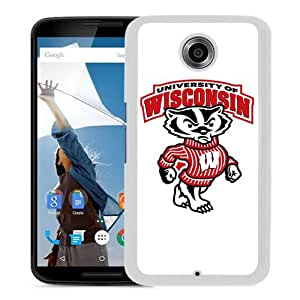 Popular Google Nexus 6 Case, Beautiful Designed Case With Ncaa Big Ten Conference Football Wisconsin Badgers 3 White Google Nexus 6 Cover