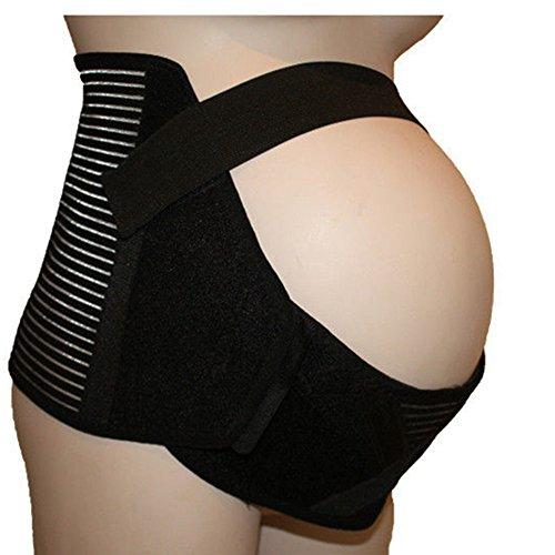 IntiPal Schwangerschaftsgurt Stützgürtel Bauchband Bauchstütze Umstandsgürtel (L, Schwarz)