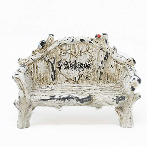 Miniature Fairy Garden Believe Bench