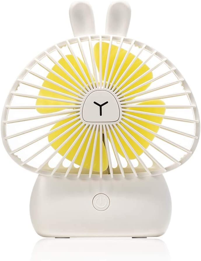 USB Cooling Fan Desktop with Lights Color : White Small Portable Silent Electric Personal Fan 1200mAh Mini Hand Held Fan Battery Powered 3 Speed