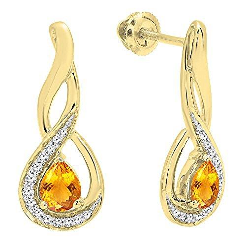 MM Each Pear Citrine & Round Diamond Infinity Drop Earrings ()