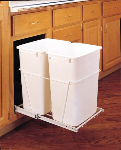 Rev-A-Shelf Double 35 Quart Pullout Waste Containers, 5-9 Gallons, White