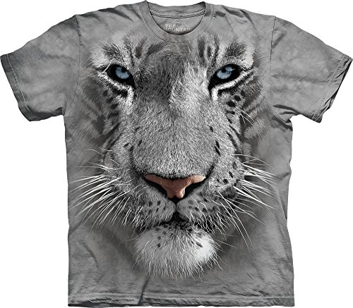 The Mountain Men's White Tiger Face T-Shirt, Gray, (Tiger Graphic T-shirt)