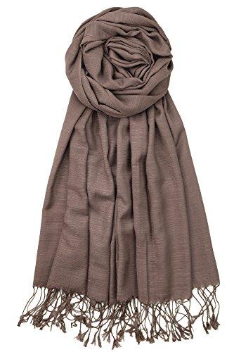 Achillea Bamboo Rayon Feel Soft Silky Pashmina Solid Shawl Wrap Scarf (Mocha ()