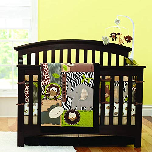 Brandream Crib Bedding Set for Boys with Bumpers Animal Printed Elephant Giraffe Monkey Hippo Owl and Bear Baby Nursery Bedding, 7 Pieces 100% Soft Cotton - Infant Monkey Crib Sheet Set