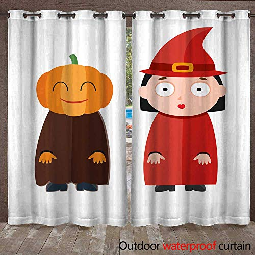 (RenteriaDecor Outdoor Curtains for Patio Sheer Vector Illustration of Cute Kids Wearing Halloween Costumes W96 x)