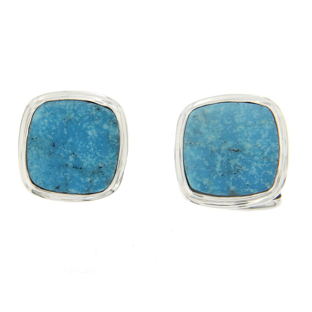 Starborn Creations Sterling Silver Square Nacozari Turquoise Cuff Links by Starborn