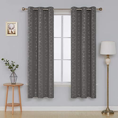 Deconovo Blackout Curtain Room Darkening Thermal Insulated Curtains Grommet Sliver Diamond Foil Print Window Curtain for Bedroom Light Grey 42x84 Inch 2 Panels (Best Thermal Curtains For Winter)