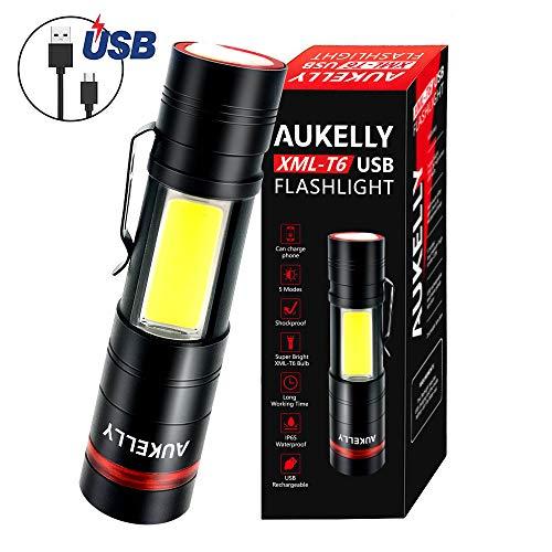 AUKELLY LED Linterna USB Recargable Alta Potencia LED Linternas Tactica Militar,Impermeable Cargador Linternas LED…